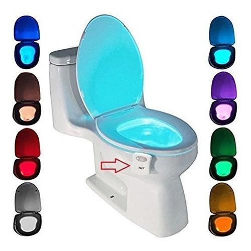 Luz Led Inodoro Para Baño Con Sensor Movimiento En 8 Colores