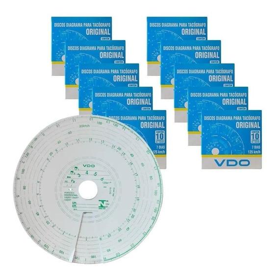 Disco Diagrama Tacógrafo Semanal 125km Cx C/10 Kit C/ 10 Cx