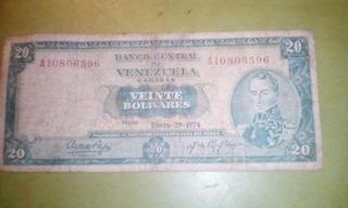 Billete De 20 Bolivares Año 1974