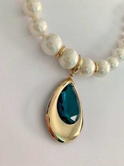 Colar Semi-jóia Banhado Ouro Gota Cristal Azul Pérolas Shell