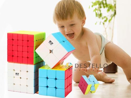 Imagen 1 de 9 de Cubos Rubik Qiyi 2x2 3x3 4x4 5x5 Stickerless Paquete 4