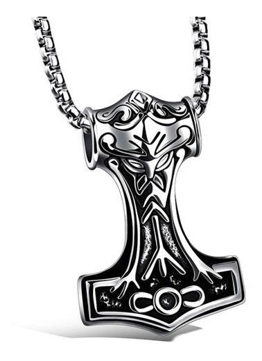 Pingente Mjolnir Viking Martelo Do Thor 2 Lados Aço Inox