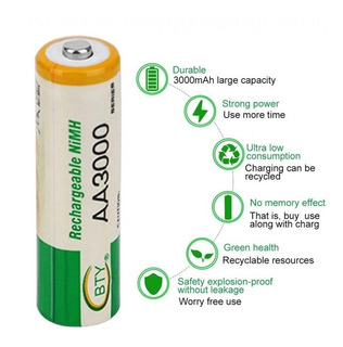 Pilas Baterias Aa Y Aaa Recargables Ni-mh Aa 3000v Aaa 1000v