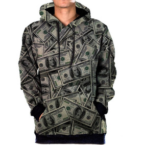 Blusa Moletom Bolso Lateral Money Tumblr Swag Dolar