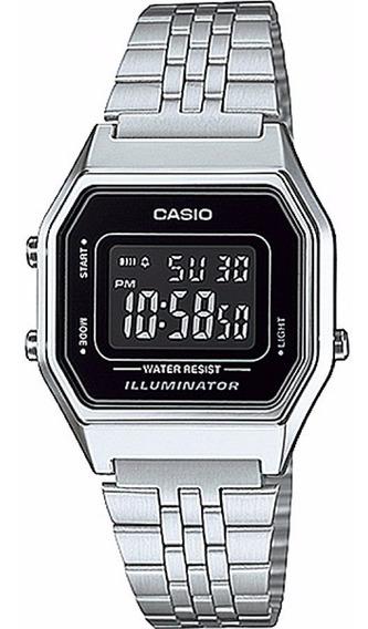Relógio Casio La680wa 1bdf Prata Retro Vintage Original Nf.