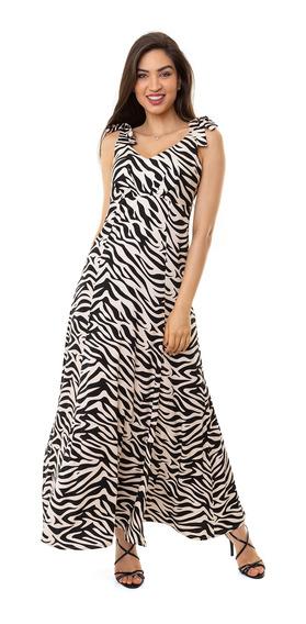 Vestido Kinara Longo Viscose Animal Print Preto