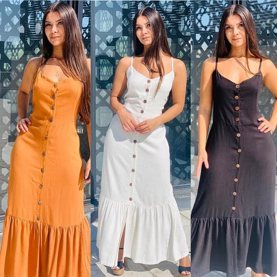 Vestido Longo Com Botão Alça Blogueira Verao 2020 Ref.15453