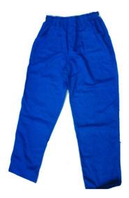 Calça Em Brim Uso Profissional Azul Royal Pronta Entrega