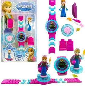Relógio Infantil Frozen + Boneca Anna Lego Blocos De Montar