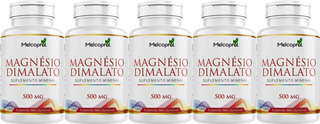 Magnésio Dimalato Original Puro 500 Cápsula Melcoprol 5 Pote