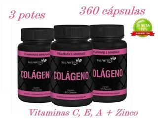 Kit Colágeno 3x120 Cápsulas Com Vitaminas C, E, A + Zinco