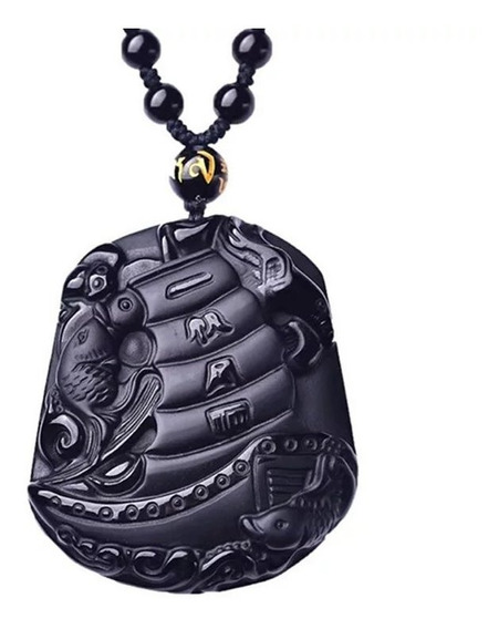 Dije Tallado En Obsidiana Barco 51*43*14mm