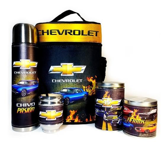 Equipo De Mate Completo Chevrolet Cuero Set Kit Matero