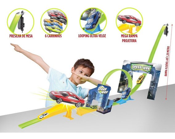 Pista Infantil Mega Rampa Looping 360 Acompanha 6 Carrinhos