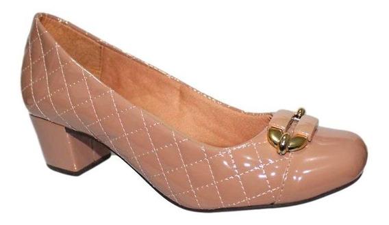 Sapato Feminino Confortável Salto Baixo Médio Grosso 1685