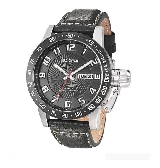 Relógio Magnum Military Masculino Couro Ma33139c Novo