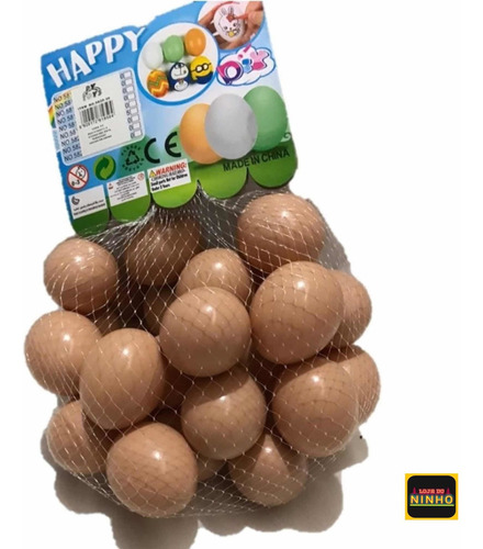 Uma Dúzia Ovos Falsos De Mentira Plástico Indez Galinha
