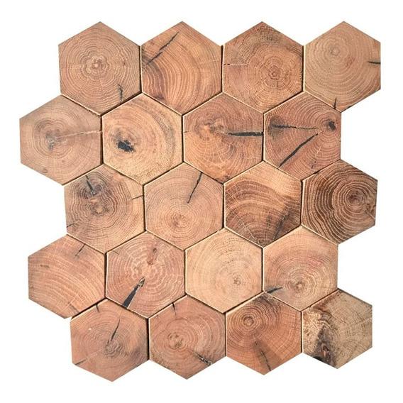Tapiz De Madera Natural De Pino Tipo Hexagonal (0.6m2)