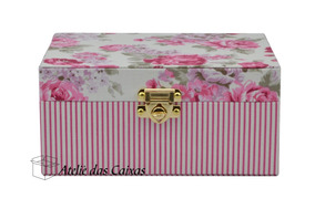 Caixa Para Bijuterias - 3 Andares Floral Rosa