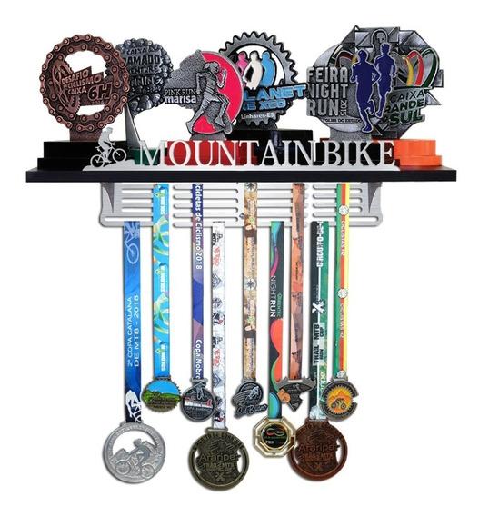 Porta Troféus E Medalhas Mountain Bike - Inox Escovado