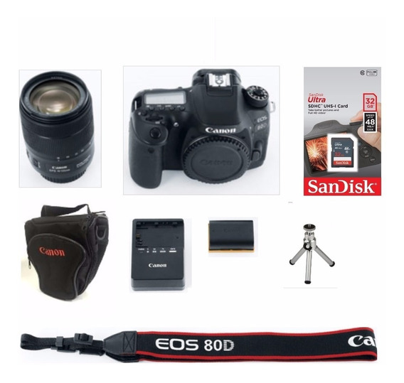 Câmera Canon Eos 80d C/ 18-135mm+ Sd64gb+ Bolsa+tripé