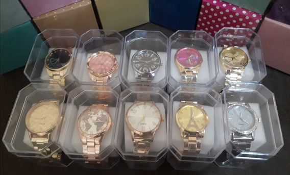 Kit C/10 Relógios Feminino Dourado Caixas Atacado Lote