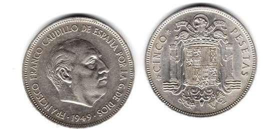 Moneda De España De 5 Pesetas Franco Año 1949 (49) Muy Buena