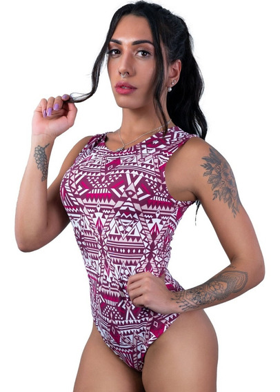 Body Feminino Camiseta Collant Cavado Suplex Estampado