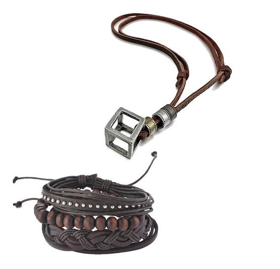 Kit Colar Cordão Couro + Pulseira Masculina Couro Bracelete
