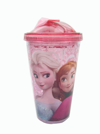 Copo Antivazamento Frozen Rosa Disney 450 Ml Kit Com 2 Pçs