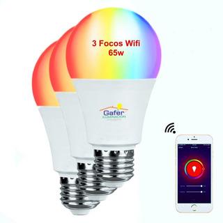 Focos Wifi Led Google Home Alexa Ios Android, 65w, 3 Piezas.