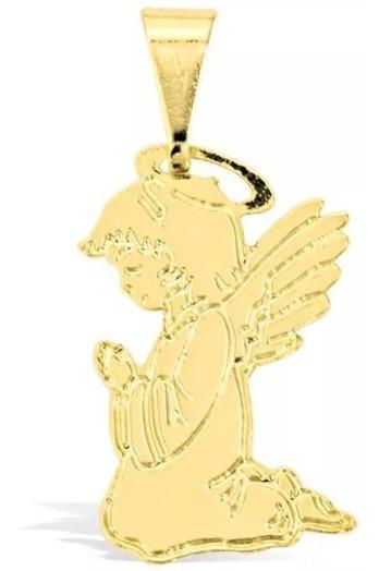 Pingente Anjo Da Guarda Semijoia Folheado Ouro 18k