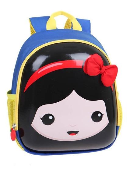 Bolsa Mochila Kids Princesas 3d Branca Deneve Bela Cinderela