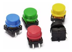 Kit 10 X Chave Táctil Push Button Botão 12x12x7.5 Mm Arduino