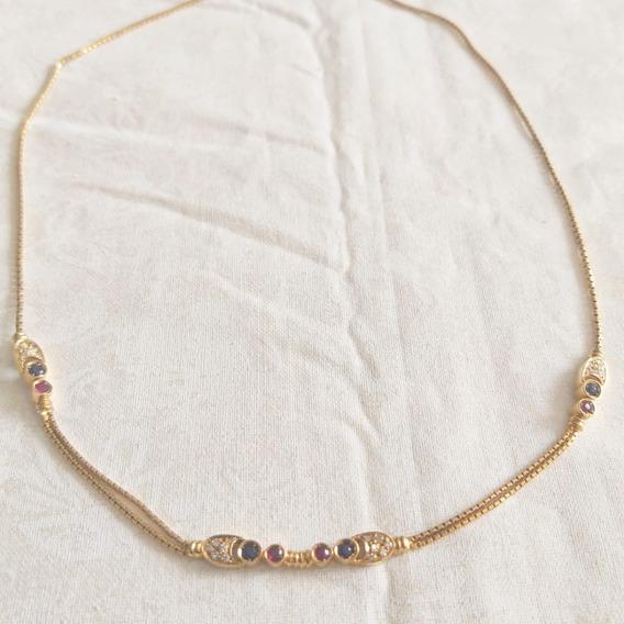 Colar Em Ouro Amarelo 18k Com Rubis, Diamantes E Safiras