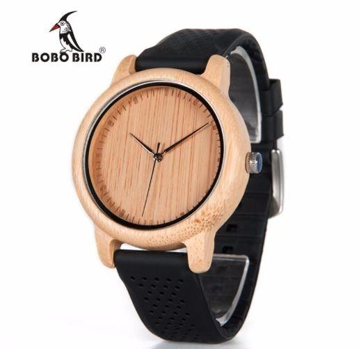 Relógio Bobo Bird Bambu Madeira Natural Original Preto B05