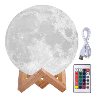 Velador Moderno Lampara Luna Llena 3d Rgb 16 Colores 18cm