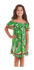 Vestido Saída De Praia Infantil Folhas Verdes Siri Kids