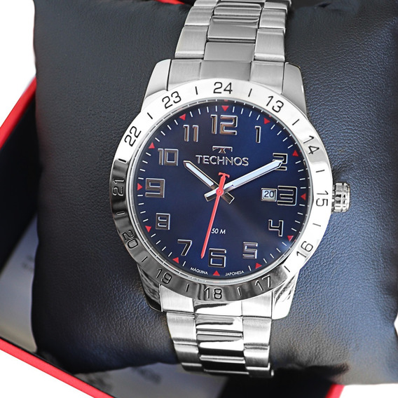 Relógio Technos Masculino Analógico Prata Azul 2115mpm/1k