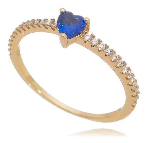 Anel Delicado Semijoia Pedra Azul E Zircônia Branca - Blogueira