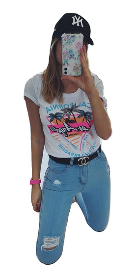 Pack Combo Jeans Mom Rotos Vintage Remera Estampada Mujer