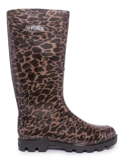 Bota De Lluvia Leopardo Caña Alta Stone Mujer Otoño-invierno
