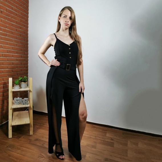 Macacão Pantalona Com Fendas E Botões Regata + Brinde191