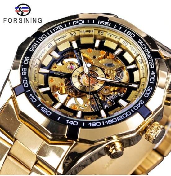 Forsining 2019 Esqueleto Mens Relógios Dourado Top