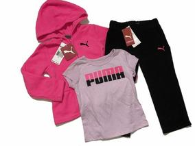 Conjunto Infantil Puma Menina Original Frio 3pçs Em Fleece