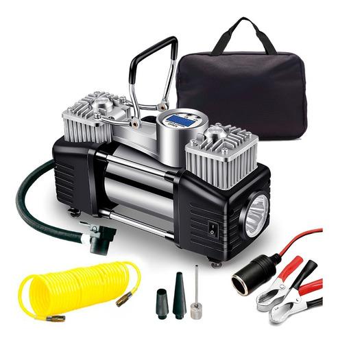Imagen 1 de 9 de Inflador Digital Upper Mini Compresor Auto 12v Linterna