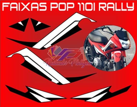 Faixas Adesivos Pop 110i Rally (varias Cores Personalizada)