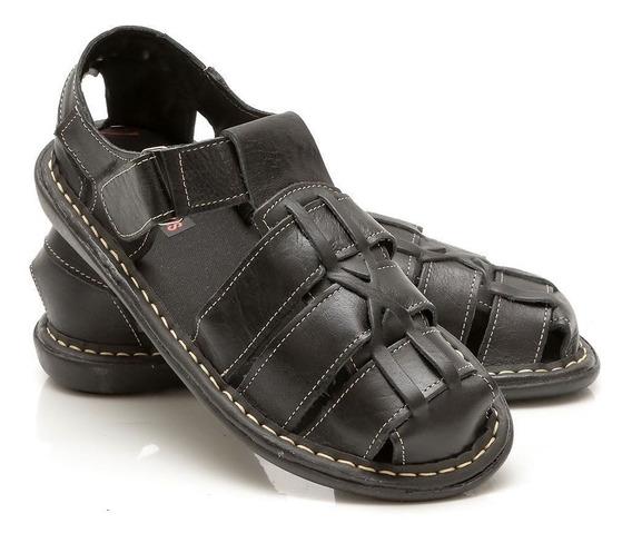Sandália Masculina Preço Baixo Em Couro Super Confortável