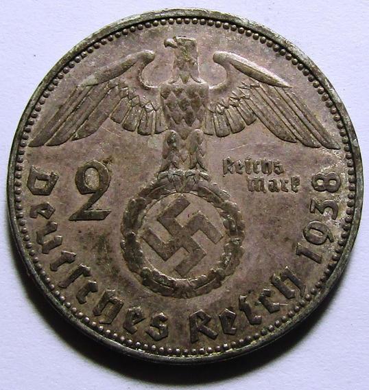 Alemania Moneda Nazi De Plata 2 Reichsmark 1938 E