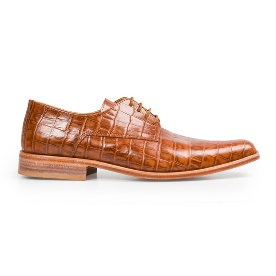Zapato De Hombre Suela Sport Cuero Cocodrilo Croco Marron